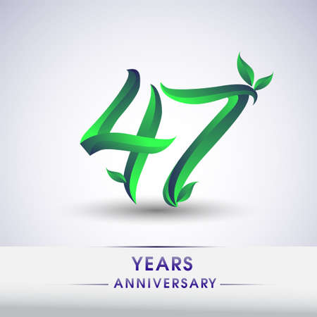 47th years anniversary celebration logotype with leaf and green colored. Vector design for greeting card and invitation card on white background.