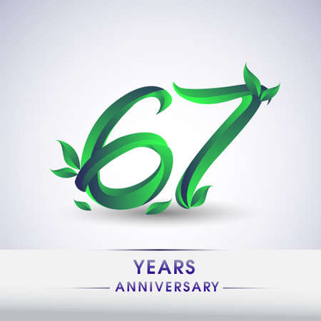67th years anniversary celebration logotype with leaf and green colored. Vector design for greeting card and invitation card on white background.
