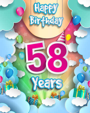 58th Years Birthday Design for greeting cards and poster, with clouds and gift box, balloons. design template for anniversary celebration.