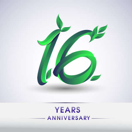 16th years anniversary celebration logotype with leaf and green colored. Vector design for greeting card and invitation card on white background.