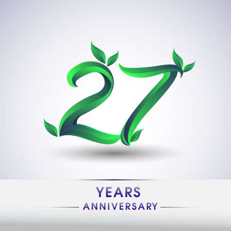 27th years anniversary celebration logotype with leaf and green colored. Vector design for greeting card and invitation card on white background.