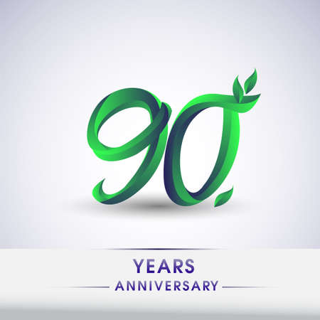 90th years anniversary celebration logotype with leaf and green colored. Vector design for greeting card and invitation card on white background.