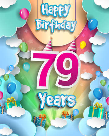 79th Years Birthday Design for greeting cards and poster, with clouds and gift box, balloons. design template for anniversary celebration.