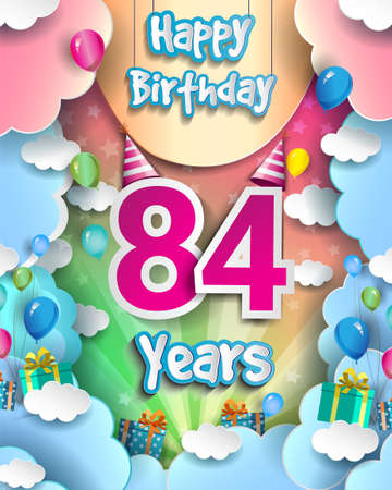 84th Years Birthday Design for greeting cards and poster, with clouds and gift box, balloons. design template for anniversary celebration. 向量圖像