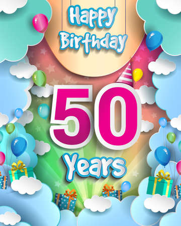 50th Years Birthday Design for greeting cards and poster, with clouds and gift box, balloons. design template for anniversary celebration.