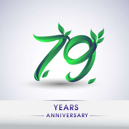 79th years anniversary celebration logotype with leaf and green colored. Vector design for greeting card and invitation card on white background. 向量圖像