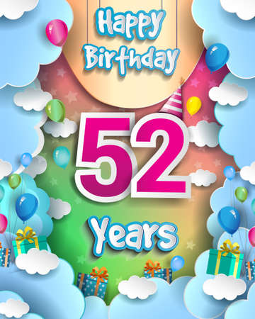 52nd Years Birthday Design for greeting cards and poster, with clouds and gift box, balloons. design template for anniversary celebration.