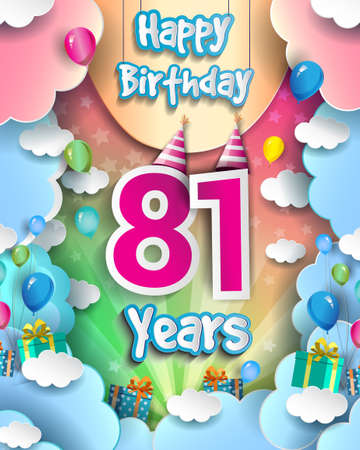 81st Years Birthday Design for greeting cards and poster, with clouds and gift box, balloons. design template for anniversary celebration.