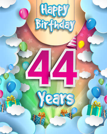 44th Years Birthday Design for greeting cards and poster, with clouds and gift box, balloons. design template for anniversary celebration.