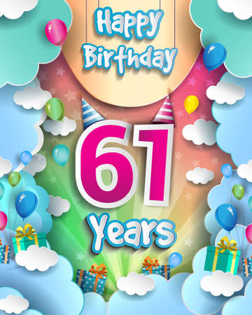 61st Years Birthday Design for greeting cards and poster, with clouds and gift box, balloons. design template for anniversary celebration.