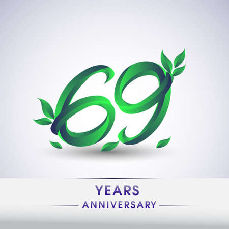 69th years anniversary celebration logotype with leaf and green colored. Vector design for greeting card and invitation card on white background.