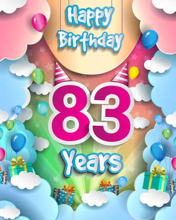 83rd Years Birthday Design for greeting cards and poster, with clouds and gift box, balloons. design template for anniversary celebration.