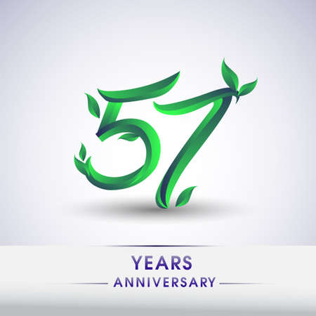 57th years anniversary celebration logotype with leaf and green colored. Vector design for greeting card and invitation card on white background.