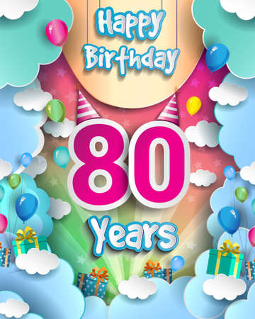 80th Years Birthday Design for greeting cards and poster, with clouds and gift box, balloons. design template for anniversary celebration.