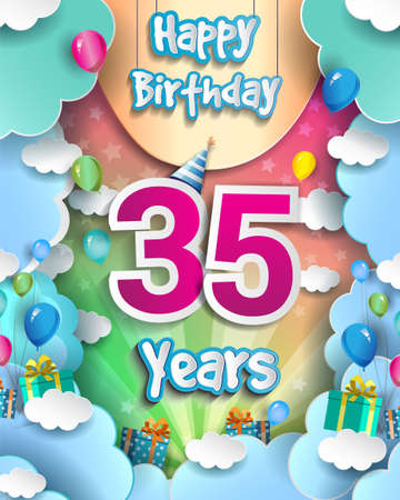 35th Years Birthday Design for greeting cards and poster, with clouds and gift box, balloons. design template for anniversary celebration.