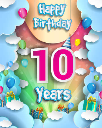 10th Years Birthday Design for greeting cards and poster, with clouds and gift box, balloons. design template for anniversary celebration.