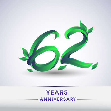 62nd years anniversary celebration logotype with leaf and green colored. Vector design for greeting card and invitation card on white background. 向量圖像