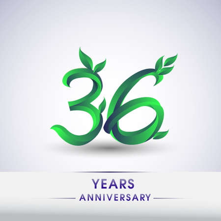 36th years anniversary celebration logotype with leaf and green colored. Vector design for greeting card and invitation card on white background.