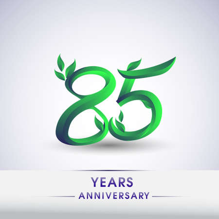 85th years anniversary celebration logotype with leaf and green colored. Vector design for greeting card and invitation card on white background. 向量圖像