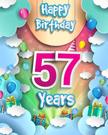 57th Years Birthday Design for greeting cards and poster, with clouds and gift box, balloons. design template for anniversary celebration. 向量圖像