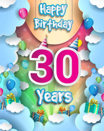 30th Years Birthday Design for greeting cards and poster, with clouds and gift box, balloons. design template for anniversary celebration. 向量圖像