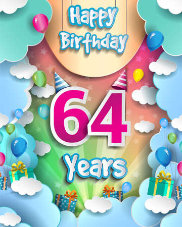 64th Years Birthday Design for greeting cards and poster, with clouds and gift box, balloons. design template for anniversary celebration.
