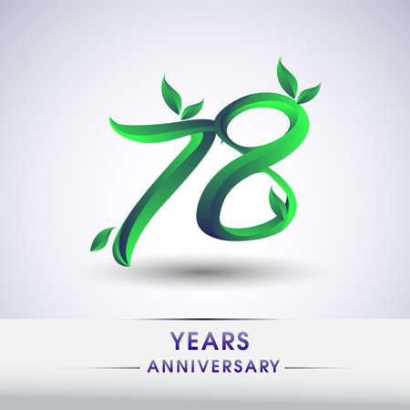 78th years anniversary celebration logotype with leaf and green colored. Vector design for greeting card and invitation card on white background.