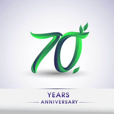 70th years anniversary celebration logotype with leaf and green colored. Vector design for greeting card and invitation card on white background.