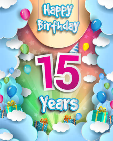 15th Years Birthday Design for greeting cards and poster, with clouds and gift box, balloons. design template for anniversary celebration. 向量圖像