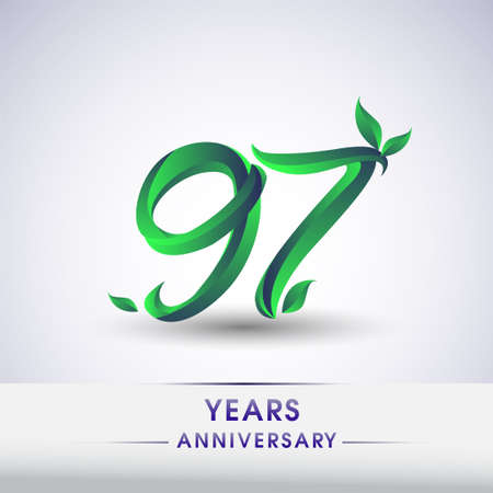 97th years anniversary celebration logotype with leaf and green colored. Vector design for greeting card and invitation card on white background. 向量圖像