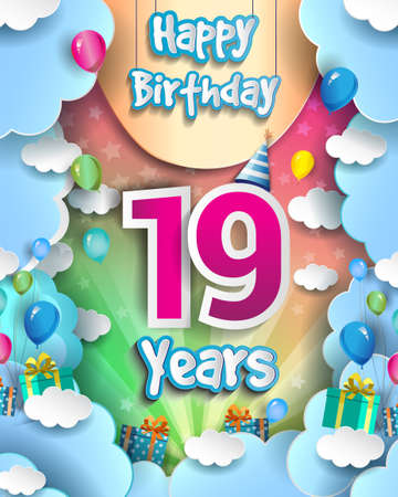 19th Years Birthday Design for greeting cards and poster, with clouds and gift box, balloons. design template for anniversary celebration. 向量圖像