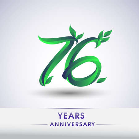 76th years anniversary celebration logotype with leaf and green colored. Vector design for greeting card and invitation card on white background. 向量圖像