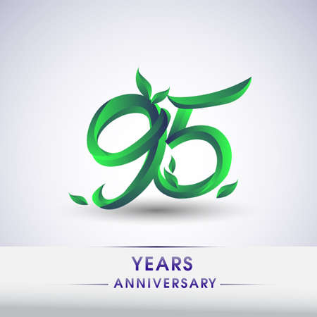 95th years anniversary celebration logotype with leaf and green colored. Vector design for greeting card and invitation card on white background.