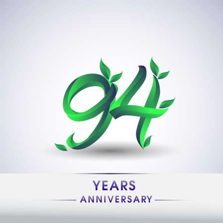 94th years anniversary celebration logotype with leaf and green colored. Vector design for greeting card and invitation card on white background.