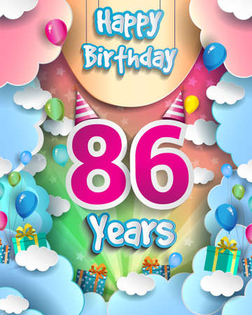 86th Years Birthday Design for greeting cards and poster, with clouds and gift box, balloons. design template for anniversary celebration.