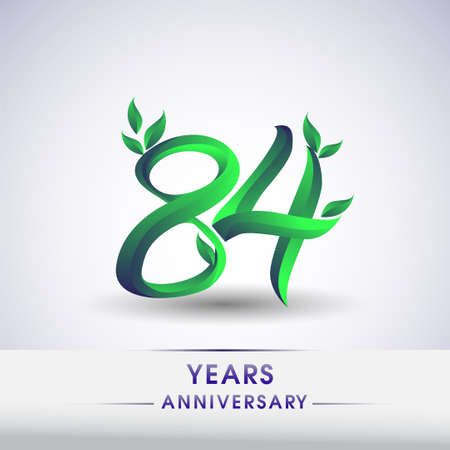 84th years anniversary celebration logotype with leaf and green colored. Vector design for greeting card and invitation card on white background.