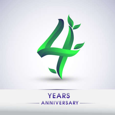 4th years anniversary celebration logotype with leaf and green colored. Vector design for greeting card and invitation card on white background. 向量圖像