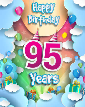 95th Years Birthday Design for greeting cards and poster, with clouds and gift box, balloons. design template for anniversary celebration. 向量圖像
