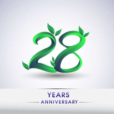 28th years anniversary celebration logotype with leaf and green colored. Vector design for greeting card and invitation card on white background.