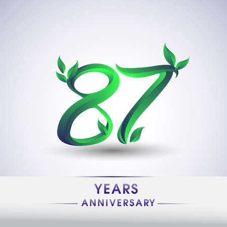 87th years anniversary celebration logotype with leaf and green colored. Vector design for greeting card and invitation card on white background.