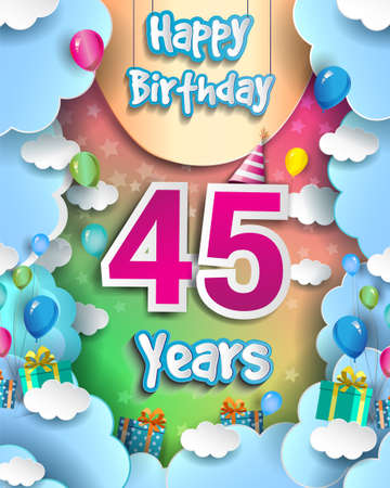45th Years Birthday Design for greeting cards and poster, with clouds and gift box, balloons. design template for anniversary celebration. 向量圖像