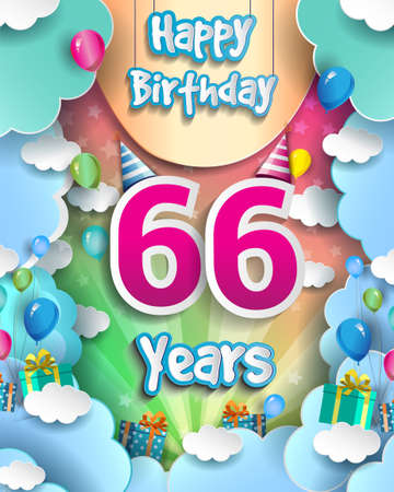 66th Years Birthday Design for greeting cards and poster, with clouds and gift box, balloons. design template for anniversary celebration. 向量圖像
