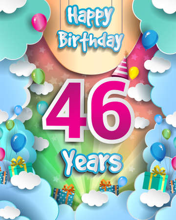 46th Years Birthday Design for greeting cards and poster, with clouds and gift box, balloons. design template for anniversary celebration.