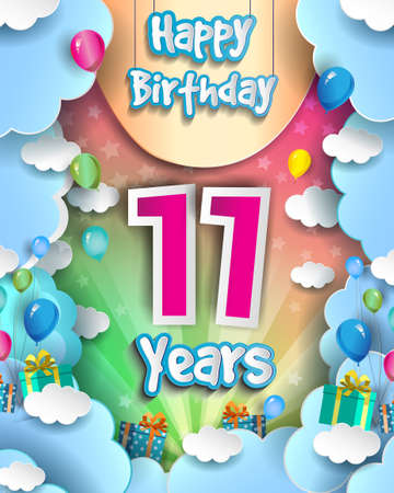 11th Years Birthday Design for greeting cards and poster, with clouds and gift box, balloons. design template for anniversary celebration.