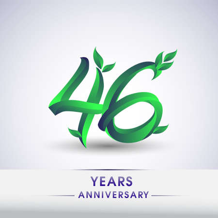 46th years anniversary celebration logotype with leaf and green colored. Vector design for greeting card and invitation card on white background.