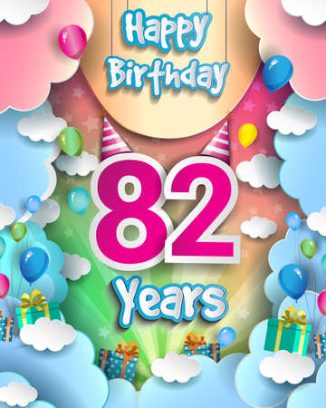 82nd Years Birthday Design for greeting cards and poster, with clouds and gift box, balloons. design template for anniversary celebration.