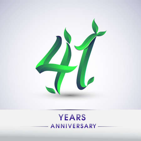 41st years anniversary celebration logotype with leaf and green colored. Vector design for greeting card and invitation card on white background. 向量圖像