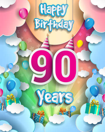 90th Years Birthday Design for greeting cards and poster, with clouds and gift box, balloons. design template for anniversary celebration.