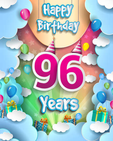96th Years Birthday Design for greeting cards and poster, with clouds and gift box, balloons. design template for anniversary celebration.