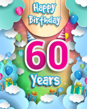 60th Years Birthday Design for greeting cards and poster, with clouds and gift box, balloons. design template for anniversary celebration.